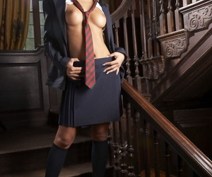 Busty schoolgirl Lucy Belle gets dual fucked as part of..
