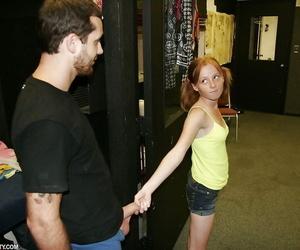 Redhead teen slut in denim cut-offs wanking off a thick dick