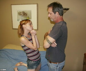 Lil' young girl Alyssa Hart wanks off an older stud to..