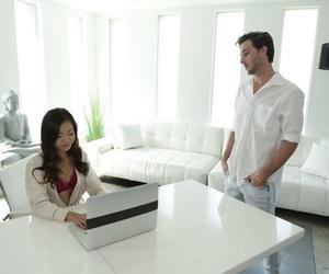 Lil' Asian massagist Vina Sky juggles around on a firm..