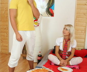 Youthful blonde is left with spunk dribbling down her..