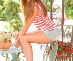 Teenage with gorgeous crimson hair ava sparxxx exposes the..