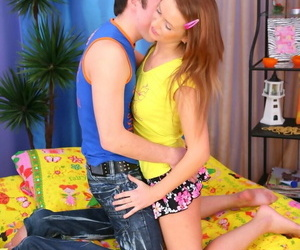 Lengthy haired redhead gets down on all fours for fat dick..