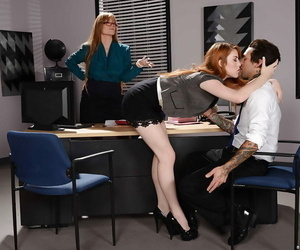 Slightly legitimate redhead secretary learns how to give..