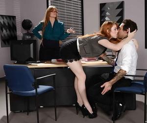 Slightly legitimate redhead secretary learns how to give..