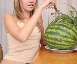 Cheeky teenage with watermelon - part 279
