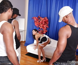 Jiggish Asian courtesan Jasmine F is blasted by 2 huge cocks