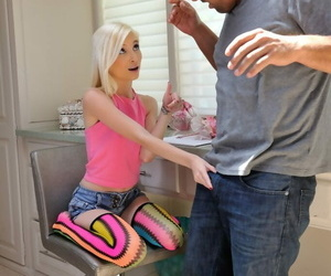 Blond teenage with braces gets on her knees for a ball sac..