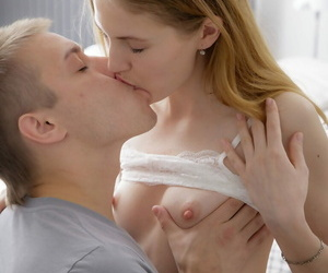 Slim teen and her dude mate smooch on the throat previous..