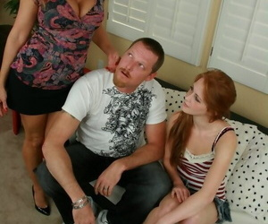 Youthful redhead gets help from stepmother while learning..