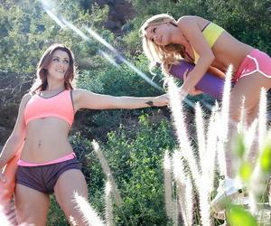 Teenage lesbians Karlie Montana and Staci Carr love a warm..