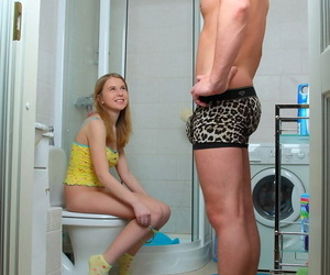 Scorching teenage caught nude in the bathroom gets pounded..