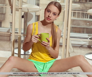 Thin girl Kimberly Kace loses her cut-offs to stretched..