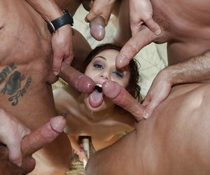 Teenager slut Ariana Marie face screwed by roomful of mild..