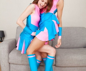 Lovely teen cheerleaders in knee socks have some lesbian..
