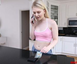 Slender blonde teen Lily Rader gulps jism after former..