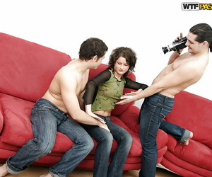 Lewd black-haired coed has some messy fun with 2 firm..