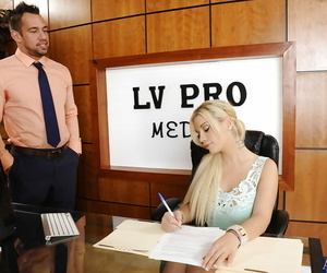 Big hooter blonde honey Bibi gives her manager a blowjob..