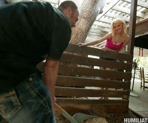 Youthfull and busty blonde blonde suffers titty torment..