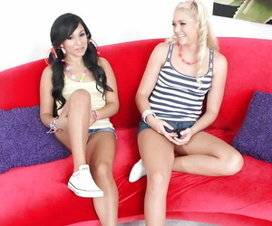 Teen dykes Kim Kennedy and Jessie Andrews slip off..