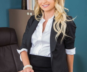 Stellar secretary Natalia Starr strips to pink nylons and..