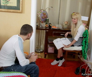 Blonde student deep throats on a immense man meat after..
