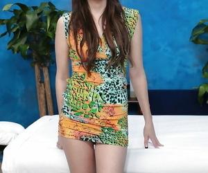 Smiley latina teenie in high high-heeled slippers strips..
