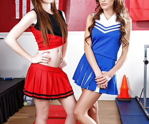 Lezzie cheerleaders August Ames and Emma Stoned..