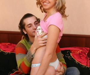 Small teenage Katya is stripped naked before a BJ and..