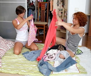 Adorable teenage chicks Meddie & Sunny stack arses during..