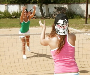 Sporty teenager babes having lezzie joy with their..