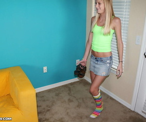 Slippy teenager blonde with tiny titties gets involved..