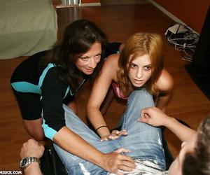 Lewd mature dickblowers and her teen mate take turns..
