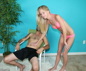 Skinny teenager woman with little hooters give a molten..