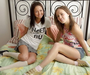 Playful teenager lesbos have some fun using their sex..