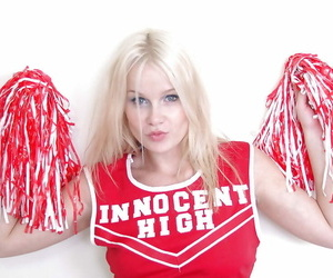 Schoolgirl cheerleader Kylee is a blonde honey that is..