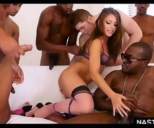 Interracial DOUBLE anal invasion gang-bang with Adriana..