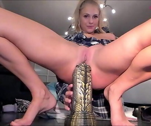 Wonderful Blonde Destroys AssHole With Big Dildos..