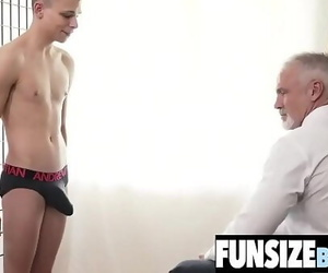 Hung mature silver daddy destroys little lad..