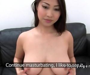 Chesty Asian honey fucks fake agent