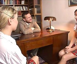 Trampy Schoolgirls Entice The Principal - Ten min
