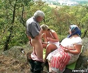 Voyeuristic Ash-blonde With Old Couple
