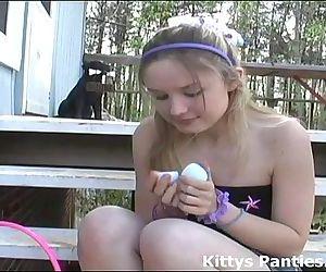 18yo Kitty hunting for Easter eggs in a mini-skirt - 6 min