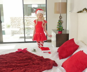 Hot ash-blonde babe in a Christmas costume Piper Perri..