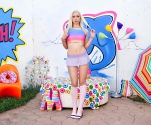 Platinum blonde teen Chloe Cherry gushes her permanent..