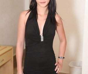 Puny Asian chick Charice removes little black dress to..