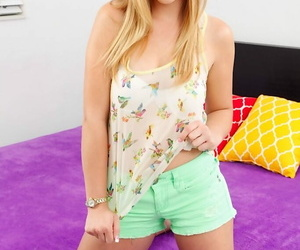 Teenager Kendra Lynn in undergarments goes nude for..