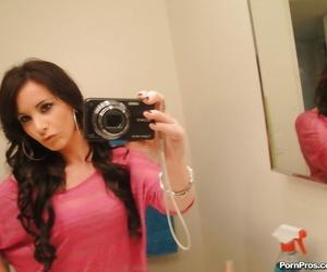 Barely eighteen teen Mia Valentine taking naked mirror..