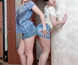 Molten teenagers Snezha & Lisa unclothing and having lesbo..