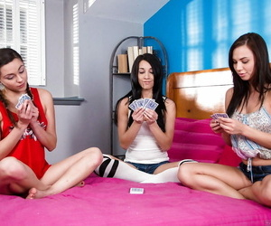 Cute teenagers game of unclothe poker quickly turns into..